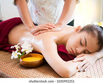 Woman having spa body massage treatment in the spa salon,Massage and body care.