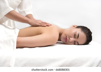 Woman having spa body massage treatment in the spa salon center, Beauty healthy lifestyle and relaxation concept