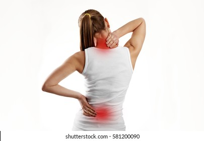 Woman having spine disease or illness. Painful back on female body with red dots.