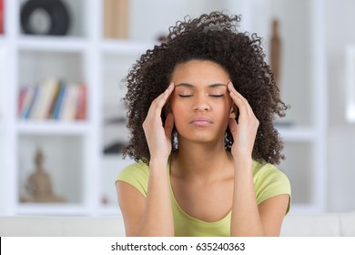 woman headache or anxiety attack crisis