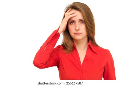 Woman with a headache isolated on white background