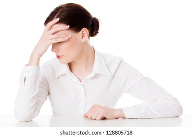 woman with headache, white background