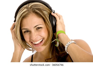 Woman with headphones listening to music isolated