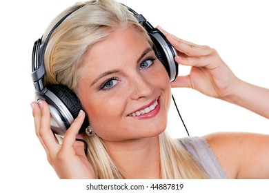 Woman with headphones listening to music for relaxation
