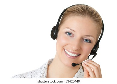Woman with headphones and microphone