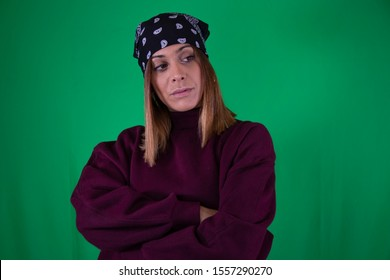 Woman headscarf and chroma background