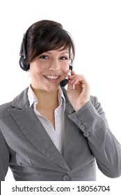 a woman with a headset in a call center or a office