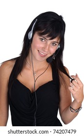Woman with headset closeup