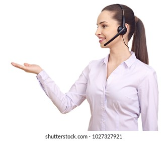 Woman with headset gesturing with hands
