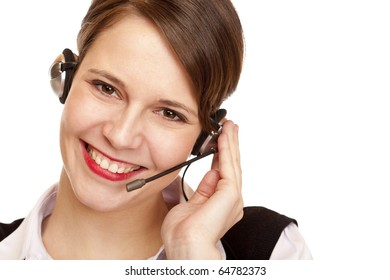 Woman with headset laughs happy and makes a call. Isolated on white background.