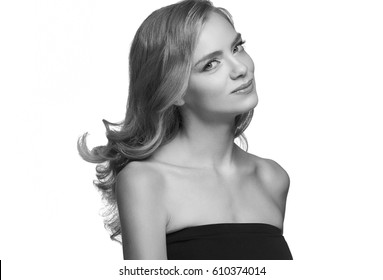 Woman headshot face blonde portrait closeup black and white.