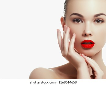 Woman health. Red Sexy Lips . Open Mouth. Makeup cosmetics. Make up concept. Beauty model girl's face isolated on white background. Filler injections. Lip augmentation, Beautiful Perfect Lips