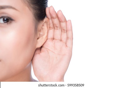 Woman with hearing loss or hard of hearing