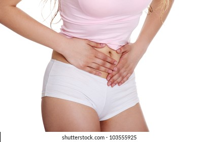 Woman heaving belly ache, isolated on white background