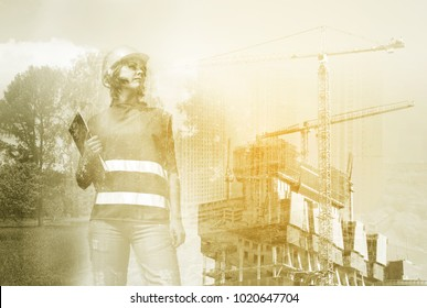 Woman in helmet and building site, collage, multi-exposure