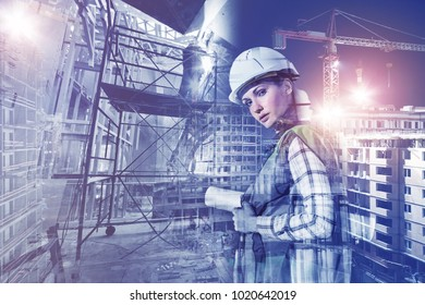 Woman in helmet with papers and construction, collage, multi-exposure