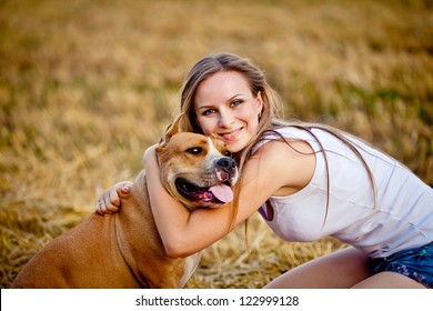 woman with her beautiful dog