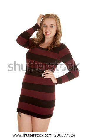 Woman Her Black Red Striped Dress Stock Photo Edit Now 200597924
