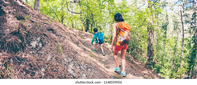 A woman and her child walk along a forest trail. A boy with a backpack travels with his mother. Hike with children. The kid walks through the pine forest. Active summer holidays. Fisheye lens.
