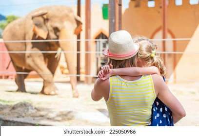 Woman and her daughter visiting zoo.