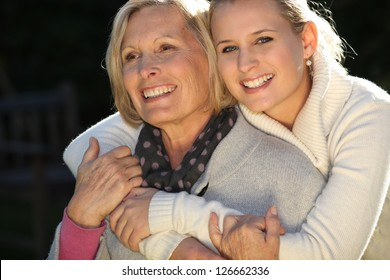 Woman with her grownup daughter