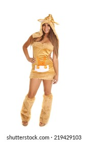 A woman in her Halloween kangaroo costume with a smile on her face.