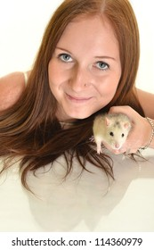 woman with her pet rat isolated on white
