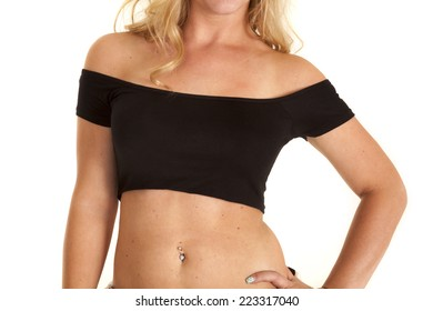 a woman in her tube top showing her stomach.