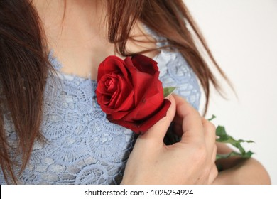 a woman and her Valentine's red rose background
