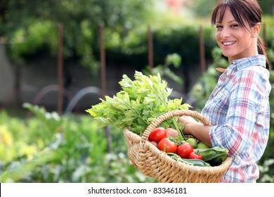 Woman in her vegetable garden