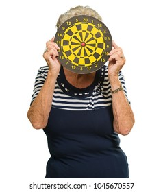 Woman Hiding Her Face With Dart Board Isolated On White Background