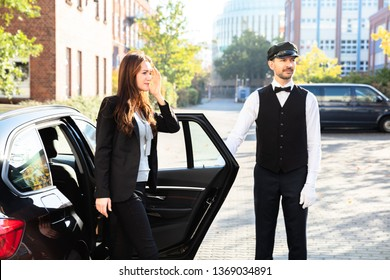Woman In High Heels Getting Out From Car