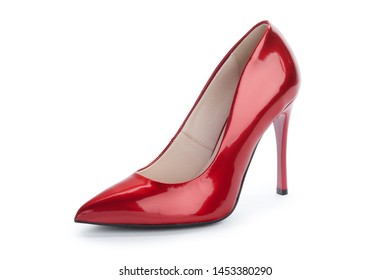 Woman high heels shoes isolated on white background