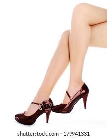 woman high-heeled shoe and legs fashion style
