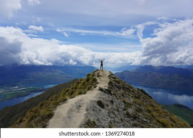 A woman hiked to the peak of Roy's Peak in Wanaka, New Zealand
