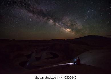 Woman Hiker looking at beautiful milky way over Reflection Canyon Lake Powell Utah