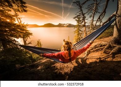 Woman Hiker Relaxing in Hammock Crater Lake National Park Oregon