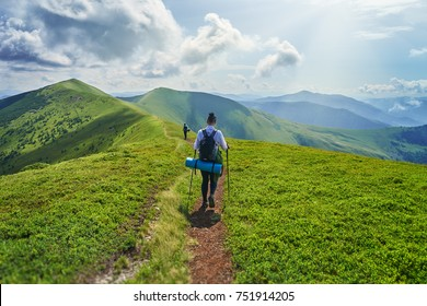 Woman hiker walking on a green trail on the mountains