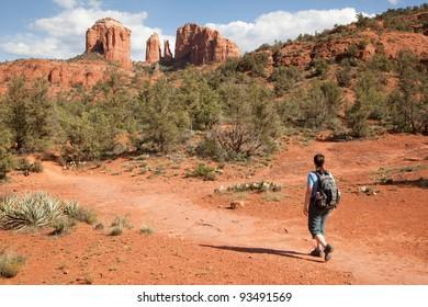 Woman Hiking to Cathedral Rock (Sedona, Arizona)