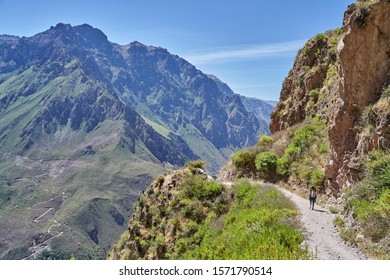 A woman hiking the Colca Canyon, one of the deepest in the world. Peru