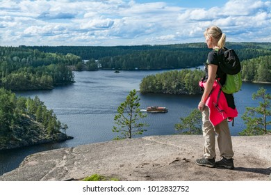 Woman hiking in forest