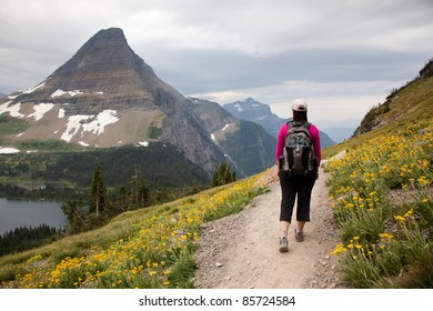 Woman Hiking Mountain Trail (Logan Pass, Glacier National Park)