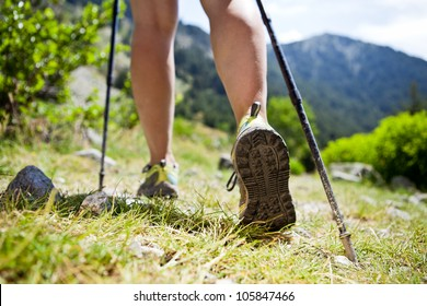 Woman hiking in mountains, adventure and exercising. Legs and nordic walking poles in summer nature.