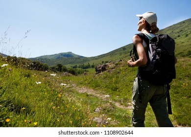 woman hiking in the mountains in summer