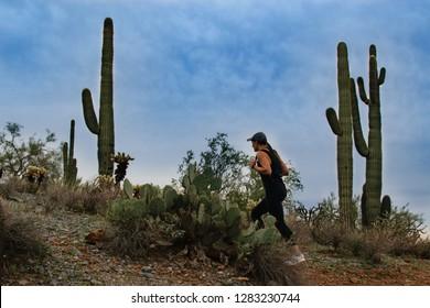Woman Hiking In Scottsdale Arizona