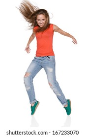 Woman hip hop dancer over white background