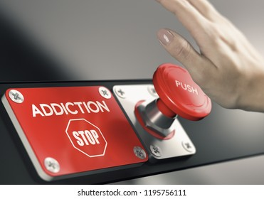 Woman hnd about to press a panic button to stop addiction. Addict's decision making concept