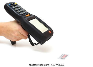 woman hold bar code scanner and scans  with laser