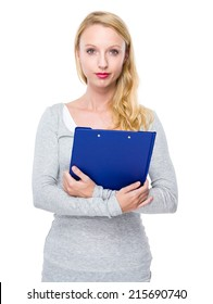 Woman hold clipboard