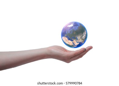 a woman is hold earth on the hand and the globe is shown europe